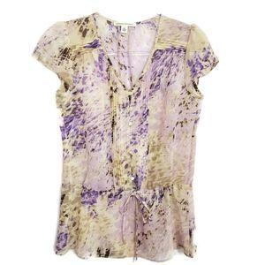 Banana Republic floral pin tuck blouse Size XS